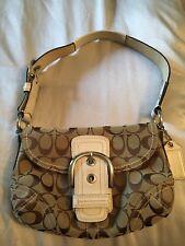 EUC! COACH Signature Brown & Ivory Handbag Purse Shoulder Bag Hobo M0773 11860