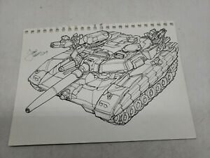 FRED PERRY Tank DRAWING ORIGINAL Comic ART ILLUSTRATION autograph 9x11 f2