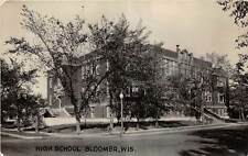 D53/ Bloomer Wisconsin Wi RPPC Real Photo Postcard c1940s High School Building