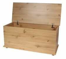 Ottoman Storage Chest Toy Chest Blanket or Bedding Box Cambridge Pine Effect