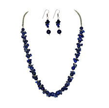 325cts.Natural Lapis Lazuli Beads Handmade Hollywood Girl's Necklace Earring Set