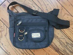 Diesel Canvas Crossbody Bag Charcoal Black