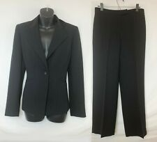 Evan Picone Women's Black 2 Piece Suit w Charcoal Pinstripes! Pants, Blazer Sz 6