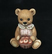 """Home Interiors Homco Large Bear w/ Basket of Apples 4"""" Pink Dress A804 #615"""