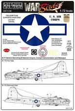 Kits World Decals 1/72 B-17G FLYING FORTRESS Late War Stars & Bars with Stencils