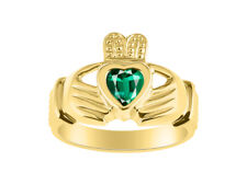 Emerald Claddagh Ring Claddah Love, Loyalty & Friendship Ring Set in Yellow Gold