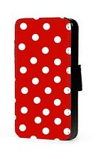 Polka dots phone case red background faux leather wallet flip card mobile case