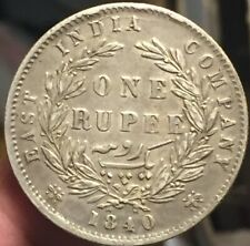 British India 1840 Victoria Rupee Silver Coin - Nice Details-Please See Pictures