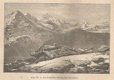 A1774 La Jungfran vista dal Fraulhorn - Xilografia Antica del 1895 - Engraving