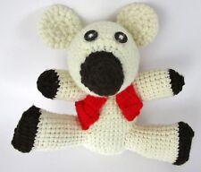 "Handmade Crochet Bear Toy Stuffed Animal Polar Red Vest Baby Folk Crafted 10"""