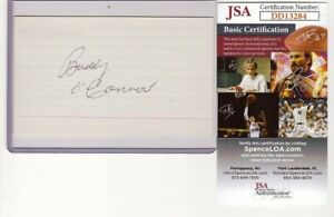 BUDDY O'CONNOR SIGNED 3x5 INDEX CARD AUTOGRAPH (D.1977) JSA CANADIENS NY RANGERS