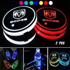 2PCS LED Car Logo Cup Holder Pad 7 Colors Changing Lights Best Gift for Dodge