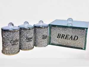 *Crushed Diamond Bread Bin Storage Canisters Set Tea Coffee Sugar Crystal Silver