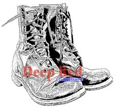 Deep Red Stamps Combat Boots Rubber Cling Stamp