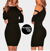 BLACK COLD SHOULDER STRAP BODYCON LONG SLEEVE DRESS 6 8 10 12 14 16 PETITE -TALL