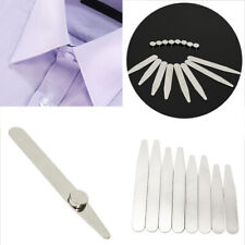 Stainless Steel 8 Polished Metal Collar Stays+8 Magnets for Men's Dress Shirts