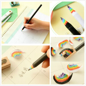 2Pcs Black and White Rainbow Pencil Wooden Made Drawing Writing Stationery