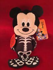 Disney Mickey Plush Halloween Treat Bag  Skeleton Costume Stuffed Animal  Minnie