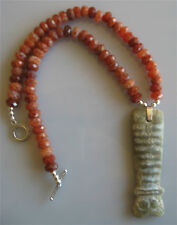 Ethnic Design Necklace/Hongshan Chinese Jade Animal Pendant, Fire Agate Beads