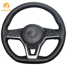 Soft Black Genuine Leather Steering Wheel Cover Wrap for Nissan X-Trail 2017