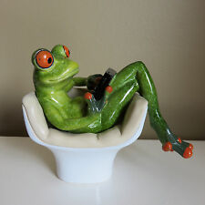 Frog Sitting on Couch Chair with Laptop Figurine Ornament 5 in.Green Frogs New