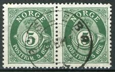 Norway 1909-19, NK 99 Pair Son Øislebø 23-VIII-17 (NO-Grade 4)