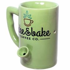 Green Ceramic Wake And Bake Coffee Mug Water Novelty Pipe Mug // Great fun gift