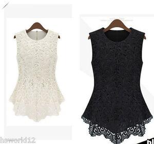 GIRLS PEPLUM Lace Sleeveless Top Blouse Vest Black White Age 9 10 11 12 13 Years