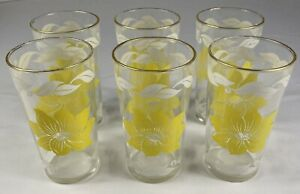 "6 Vintage Pretty Daisy Yellow Flower Glasses 12 oz White 2 3/4"" x 5"""