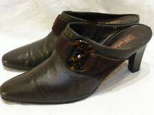 BRIGHTON ROCOCO BROWN LEATHER BELTED HEELED MULES SLIDES WOMENS SHOES 10 M $220