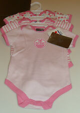 Edmonton Oilers 3pc Foldover Neck Creeper Set 6 Months NHL Hockey NWT Pink Girls