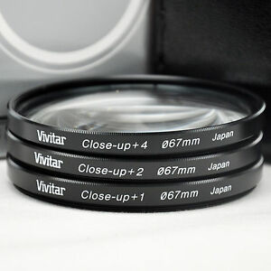 New Vivitar 67mm Glass Close-up lens Kit +1 +2 +4 with Carry Case Made in Japan