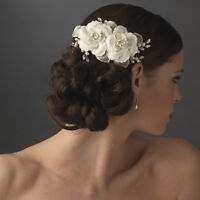 Spring White or Ivory Pearl Rhinestone Twin Rose Wedding Bridal Hair Comb