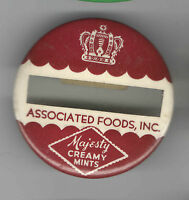 Vintage pin Associated FOODS Inc pinback Majestic Creamy MINTS badge CANDY