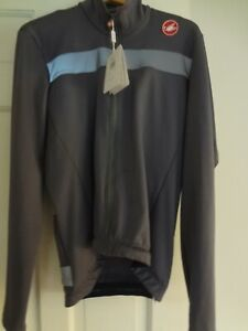 Mens Castelli Full Zip Long Sleeve Cycling Jersey  Gray Size 2XL