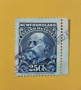 1907 NEWFOUNDLAND KING EDWARD VII 25C BLUE STAMP NFR10 - USED