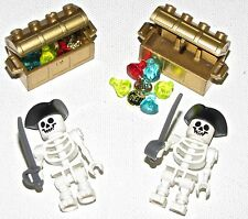 LEGO LOT OF 2 NEW SKELETONS WITH GOLD TREASURE CHESTS AND JEWELS JEMS COINS