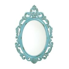 Oval Wall Mirror w/ Ornate Design Distressed Baby Blue Wooden Frame