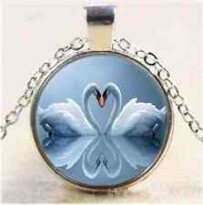 Soulmate Twin Flame  Swan Heart Love Bird Picture Pendant Silver Necklace Pouch