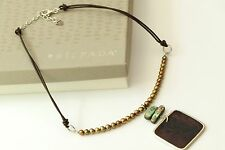 Silpada Copper Pearl Pen Etched Abalone Shell Leather Necklace N1803 Retired!