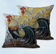 US SELLER, 2pcs decorative throw farmhouse animal rooster chicken cushion cover