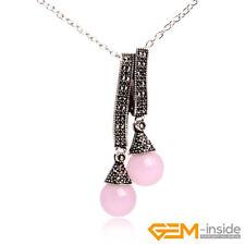 12mm Round Gemstone Tibetan Silver Marcasite Charm Pendant Jewelry Gift 25x55mm