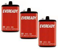 3 x Eveready 6V 4R25R PJ996 Heavy Duty Battery Mercury Cadmium Torch Lantern