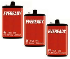 3 x Eveready 6V 4R25R PJ996 Heavy Duty Battery Mercury Cadmium Torch Lantern
