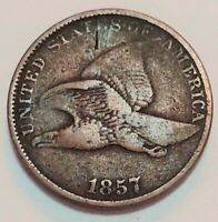1857 Flying Eagle Cent Grading FINE Uncleaned Coin Priced Right FREE S&H   g1