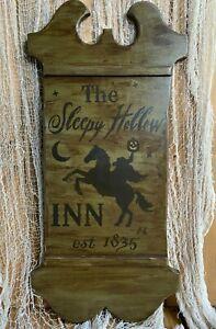 Handcrafted Primitive Rustic Vintage SLEEPY HOLLOW Headless Horseman Tavern Sign