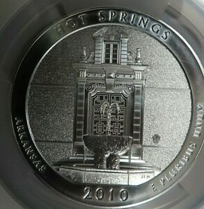 2010 HOT SPRINGS 5 OZ Silver AMERICA THE BEAUTIFUL 25C NGC MS69 EARLY RELEASES