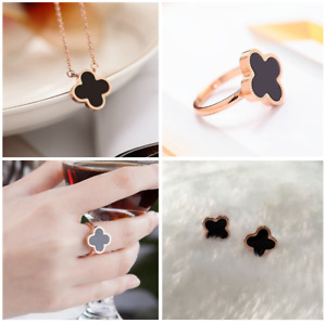Flower 4-leaf Lucky Clover Black Rose Gold Jewelry Set: Earring&Necklace&Ring