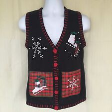 Women's Sz Small Sweater Vest Embroidered Holiday Winter Snowflakes Ice Skates