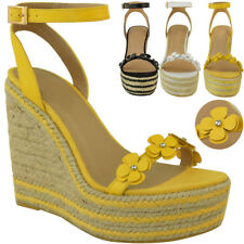Womens Ladies Summer Wedge Low High Heel Sandals Platform Espadrilles Floral New